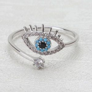 New silver Lucky Evil eye Cubic zirconia ring